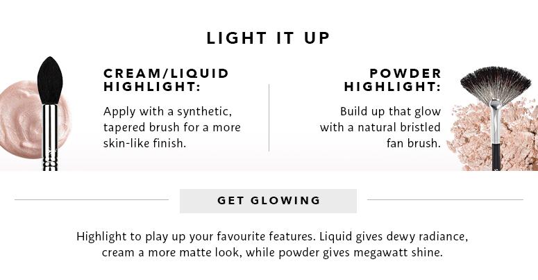 Light it up: cream/liquid highlight, powder highlight