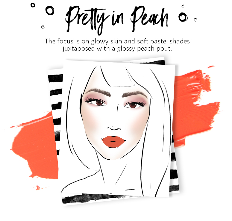 The focus is on glowy skin and soft pastel shades juxtaposed with matte peach lips