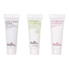 Ultra Light Face Moisturiser, Face + Body Scrub, Shampoozle + Conditioner (3 X 10ml)
